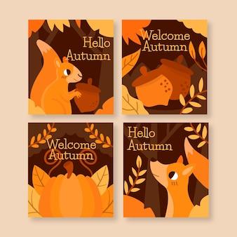Coleção de cartões de outono