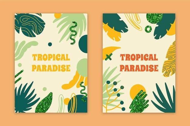 Coleção de cartões de paraíso tropical abstrata
