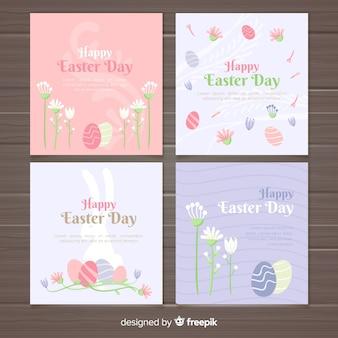 Coleção de cartões de páscoa de cor pastel