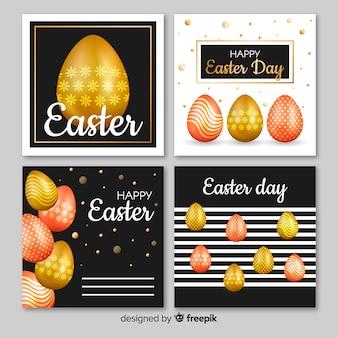 Coleção de cartões de páscoa de ovos realistas dourado