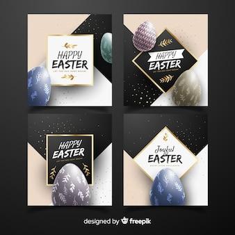 Coleção de cartões de páscoa de ovos realistas