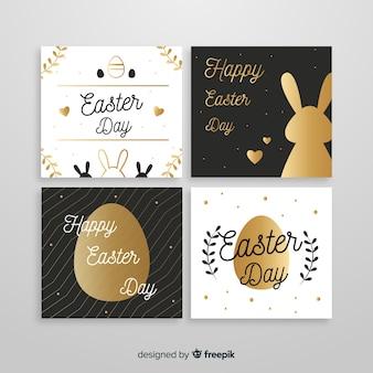 Coleção de cartões de páscoa de silhuetas douradas