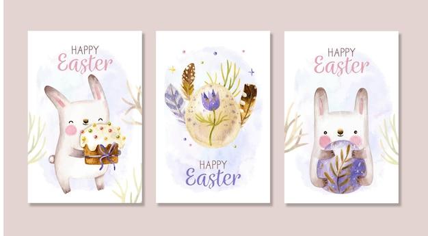 Coleção de cartões de páscoa fofos com coelhos