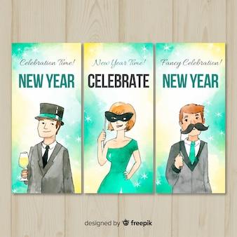 Coleção de cartões de pessoas elegantes de festa de ano novo
