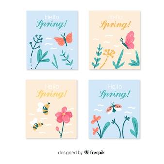 Coleção de cartões de primavera de insetos