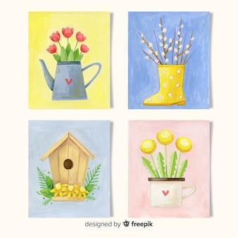 Coleção de cartões de primavera em aquarela