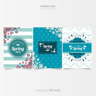 Coleção de cartões de primavera impressos