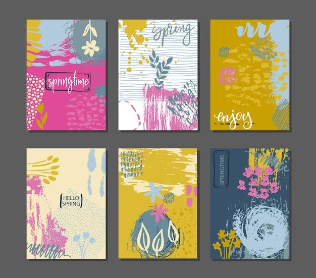 Coleção de cartões de primavera. modelos de panfleto com texto de letras de mão.