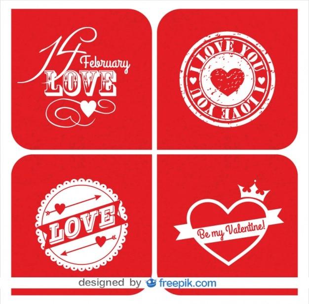 Coleção de cartões de retro dos cartões do dia dos namorados no design vermelho
