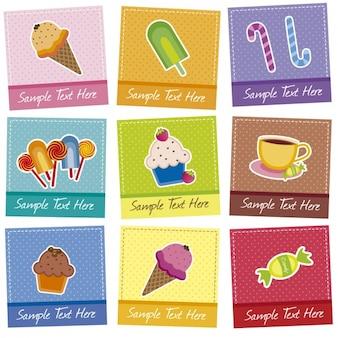 Coleção de cartões de sobremesa