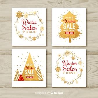 Coleção de cartões de venda de inverno
