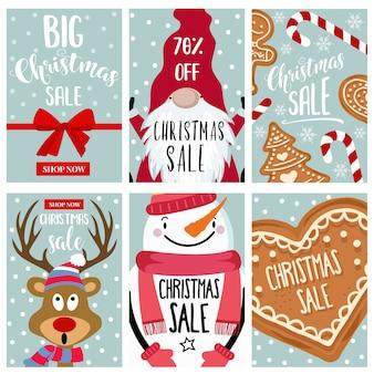 Coleção de cartões de venda de natal