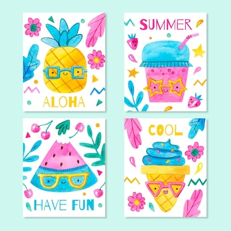 Coleção de cartões de verão aquarela