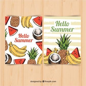 Coleção de cartões de verão com deliciosas frutas