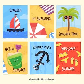 Coleção de cartões de verão com desenhos animados bonitos