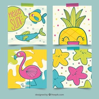 Coleção de cartões de verão com elementos de praia