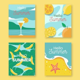 Coleção de cartões de verão desenhados à mão