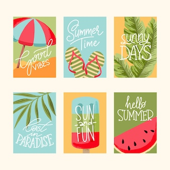 Coleção de cartões de verão, elementos com citações, cartões, emblemas de venda, scrapbook, pos