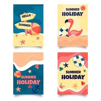 Coleção de cartões de verão mão desenhada