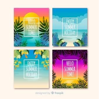 Coleção de cartões de verão plana