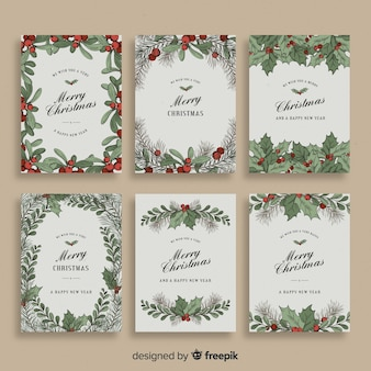 Coleção de cartões de visco de natal