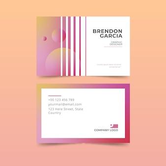 Coleção de cartões de visita gradiente pastel