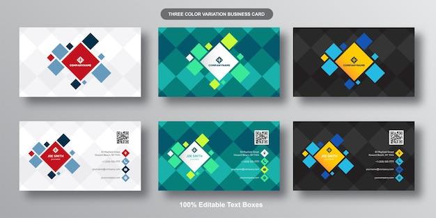 Coleção de cartões de visita modernos de quadrados coloridos