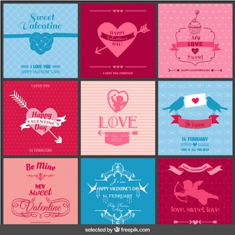 Coleção de cartões do amor