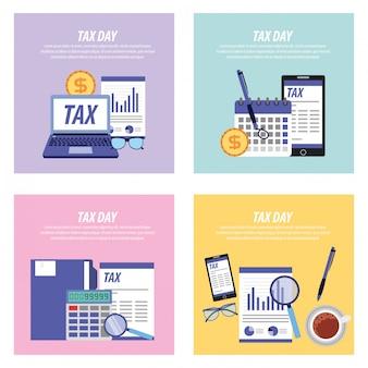 Coleção de cartões do dia do imposto