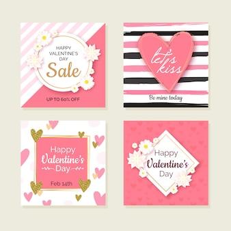 Coleção de cartões do dia dos namorados floral