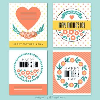 Coleção de cartões do dia quatro da mãe no design plano