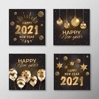 Coleção de cartões dourados do ano novo de 2021