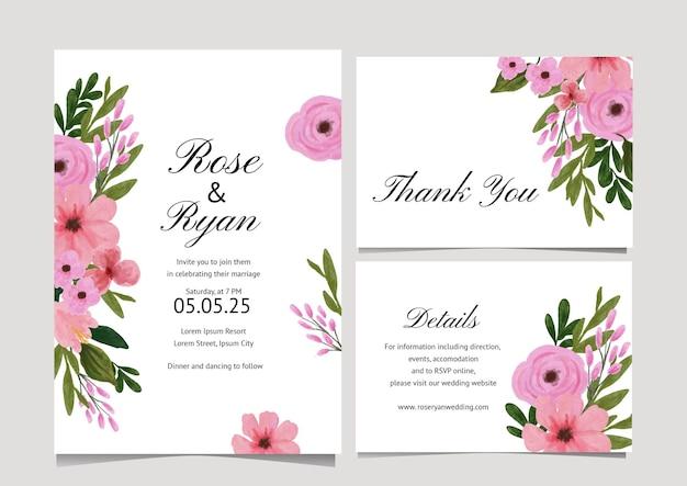 Coleção de cartões em aquarela de flores rosa