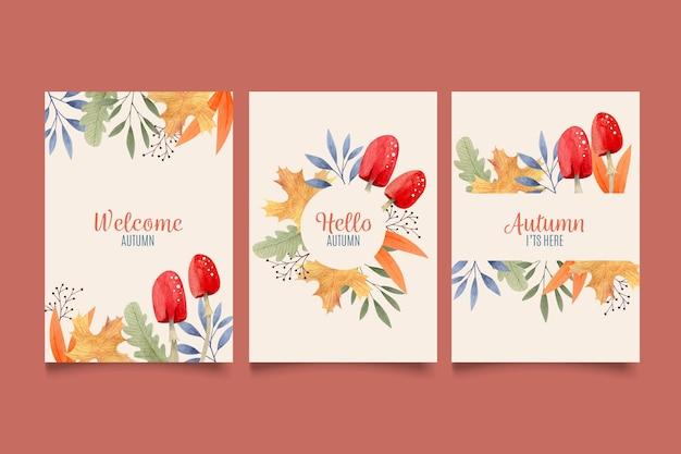 Coleção de cartões em aquarela de outono