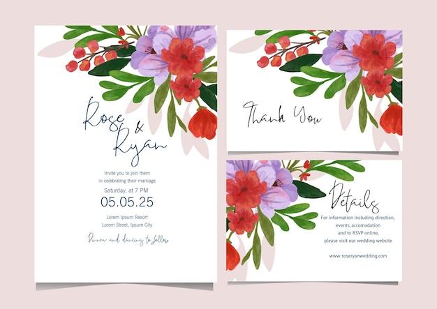 Coleção de cartões em aquarela floral