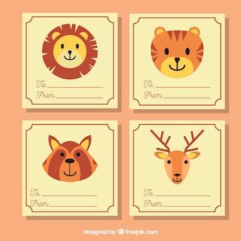 Coleção de cartões encantadora com animais sorrisos