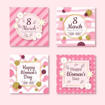 Coleção de cartões feliz dia 8 de março da mulher