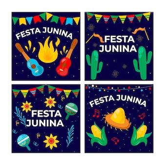 Coleção de cartões festa junina cartoon