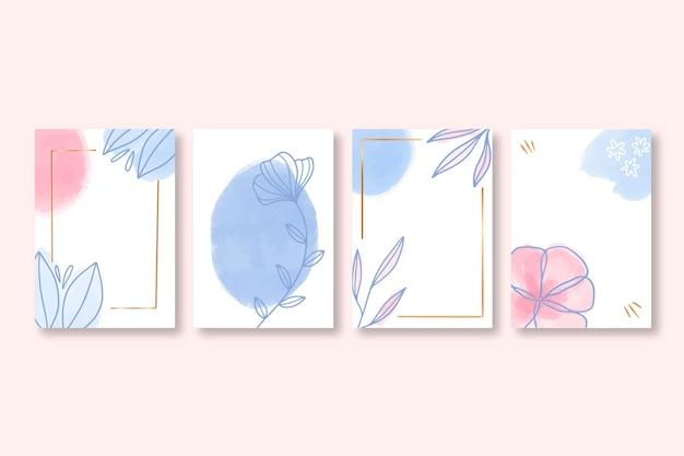 Coleção de cartões florais desenhados à mão