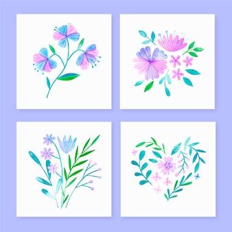 Coleção de cartões florais em aquarela pintada à mão