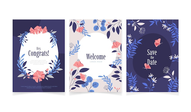 Coleção de cartões florais planos