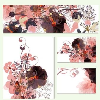 Coleção de cartões florais