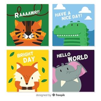 Coleção de cartões fofos de animais selvagens