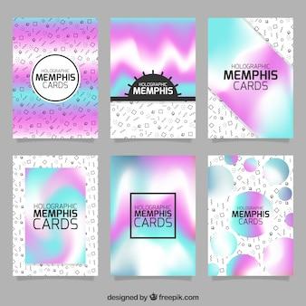 Coleção de cartões holográficos memphis