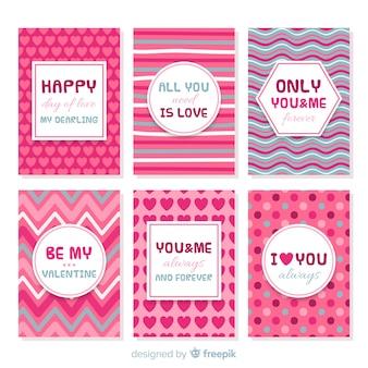 Coleção de cartões impressos dos namorados