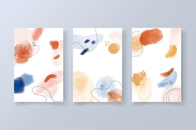 Coleção de cartões modernos com formas em aquarela