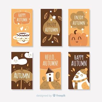 Coleção de cartões outono bonito