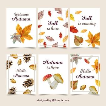 Coleção de cartões outono com folhas coloridas