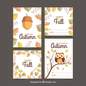 Coleção de cartões outono com folhas