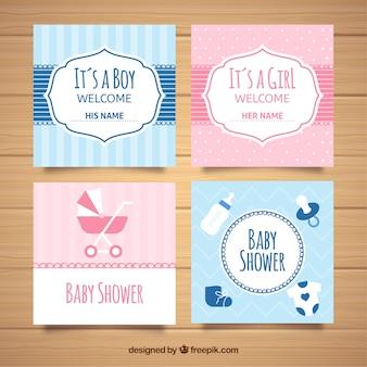 Coleção de cartões para festa do bebê